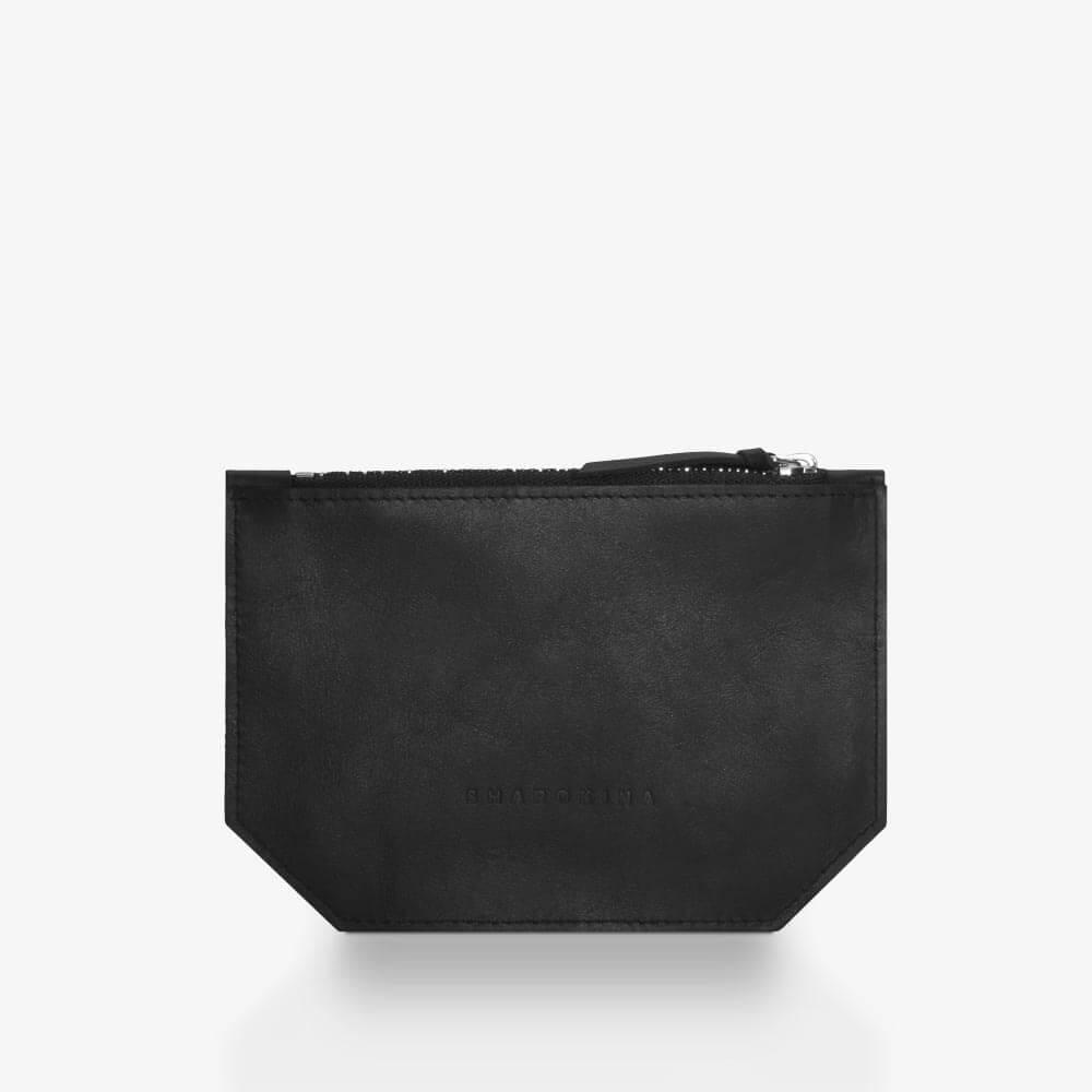 Etui aus Leder in Schwarz und Silber, Farbverlauf, zweifarbiger Metall-Reißverschluss. SHAROKINA Seta Fade