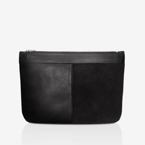 Clutch aus Leder in Schwarz. Veloursleder und Glattleder, Anilinleder mit Reißverschluss | SHAROKINA Cura Pure