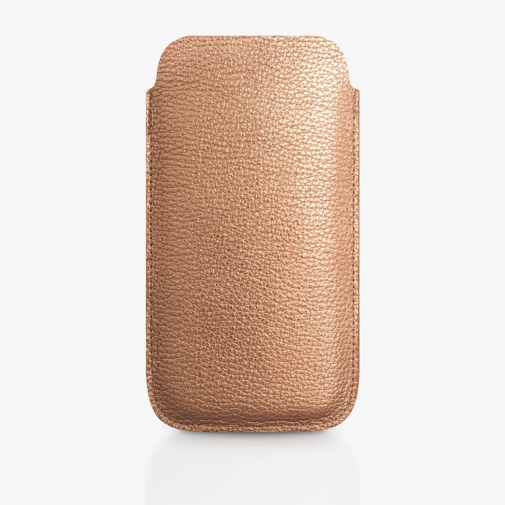 Handyhülle aus Leder in Kupfer. SHAROKINA Cava Metallic