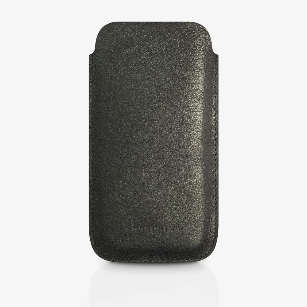Handyhülle aus Leder in Dunkelgrün-Metallic. SHAROKINA Cava Metallic
