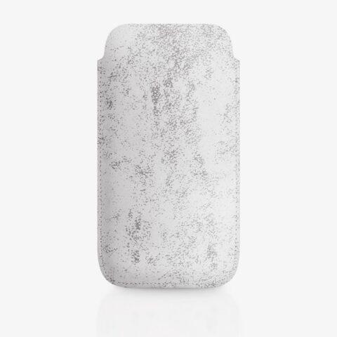 Handyhülle aus Leder in Weiß mit grauem Siebdruck in Marmor-Optik. SHAROKINA Cava Trace