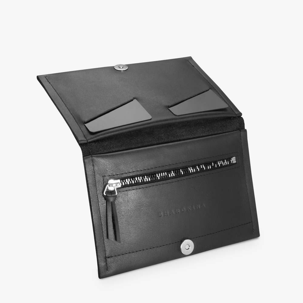 Portemonnaie aus Leder in Schwarz für Damen, Lasergravur im Snake-Look. Geldbörse mit zweifarbigem Metall-Reißverschluss. SHAROKINA Conda Snake