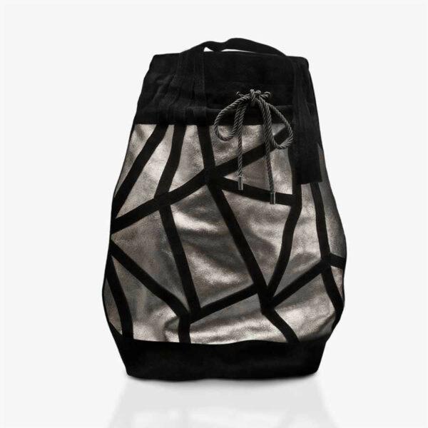 Handtasche aus Metallic-Leder in Bronze mit schwarzem Polygonmuster. SHAROKINA Micro Drawstring Bag