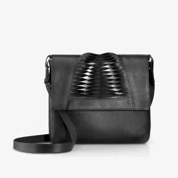 Abendtasche aus Leder in Schwarz & Bronze mit Lamelleneffekt. SHAROKINA Plica Premium Clutch