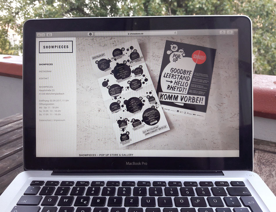 Webseite Pop Up Store Showpieces Schauzeit Rheydt