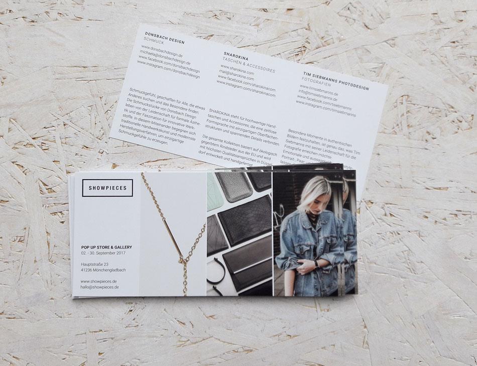 Flyer Pop Up Store Showpieces Schauzeit Rheydt