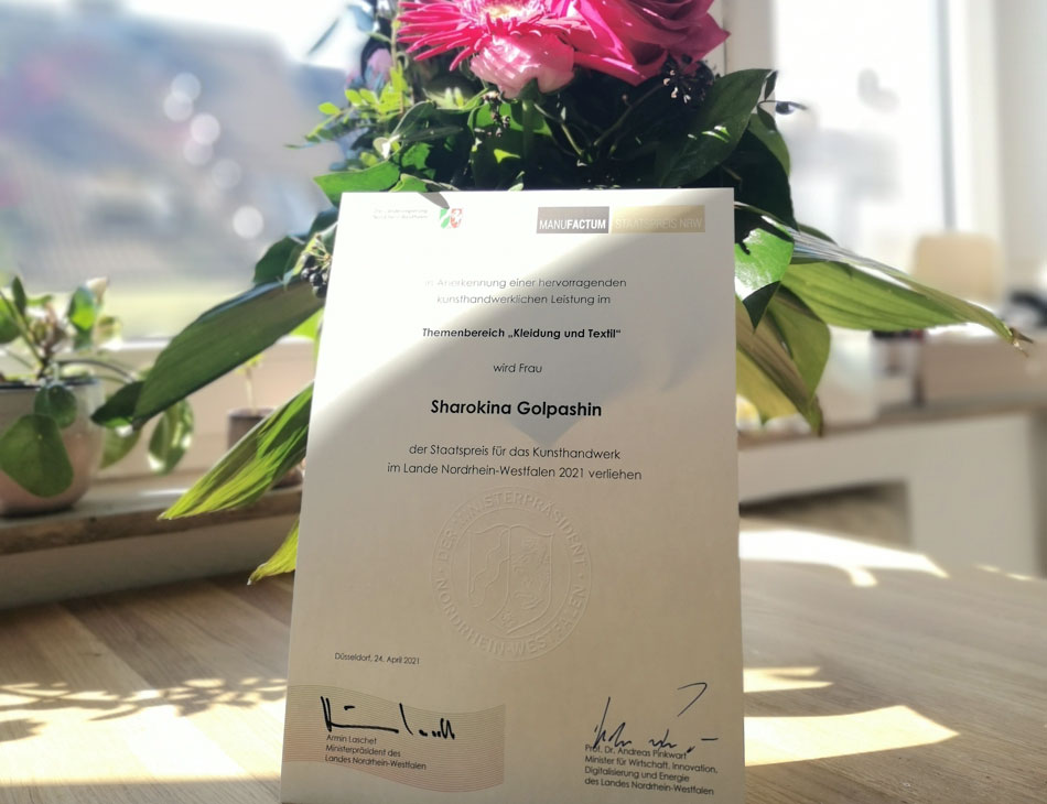 Urkunde Sharokina Golpashin zum Manufactum Staatspreis NRW