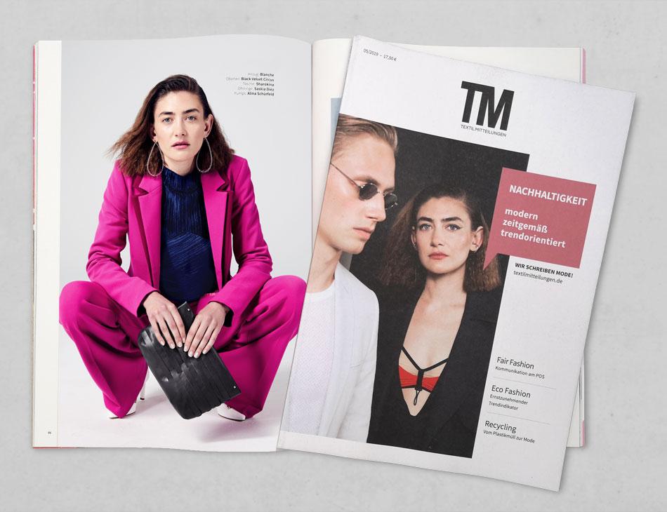 Tasche Fina Mesh in TM Textilmitteilungen im Mai 2019